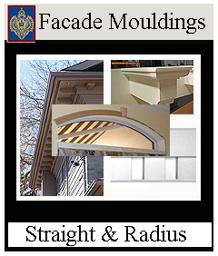 Facade mouldings flexible for arches and curves