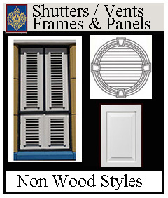 Shutters, vents, frames and panels